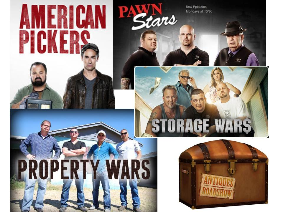 pawn stars, american pickers, antique roadshow