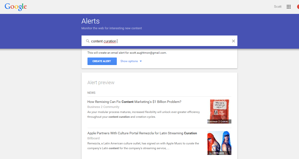 how to create a google alert