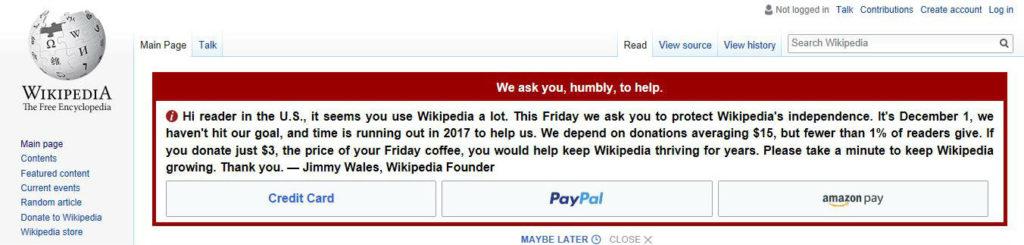 Wikipedia Donation Request